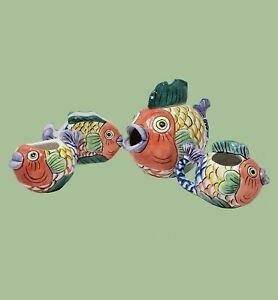 PESCADA 4 PIECE FISH HAND PAINTED COLLECTION TABLETOPS UNLIMITED 1995