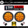 "2x Amber 4"" Round 12LED Turn Signal Rear Tail Lights Sealed 12V Truck Trailer RV"