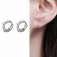 Solid 925 Sterling Silver Mini Wishbone CZ Huggie Hoop Cuff Helix Lobe Earrings