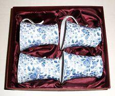 SET OF 4 BLUE ROSES PORCELAIN MUGS Unmarked