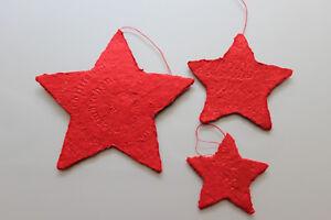 räder Winterzeit = 3 rote Sterne aus handgeschöpften Papier mit glänzendem Druck