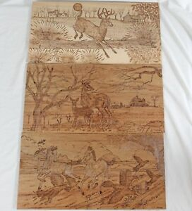 Signed Burned Wood Pyrography Panels 12x24 Deer Landscape Horses Farm Country