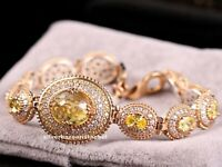 Turkish Handmade 925 Sterling Silver Yellow Citrine Stone Ladies Womans Bracelet
