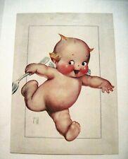 """Vintage Print of """"Kewpie"""" by """"Rose O'Neill"""" w/ Kewpie Running / Spoon  *"""