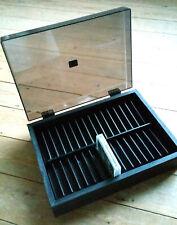 Vintage Purpax 32 Cassette Tape Storage Box Tray, Black Wood, Smoked Perspex Lid