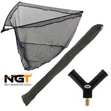 "NGT Rubber Landing Net 42"" Large Carp Pike Fishing Net Complete In Stink Bag"