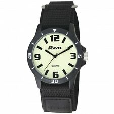 Ravel Mens Luminescent Glow in the Dark NITE-GLO Watch Clear Dial, Black Strap