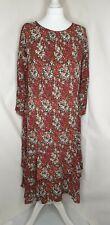 Laura Ashley UK 18 Red Green & White Floral Long Sleeve Frill Layer Hem Dress