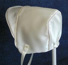 New Handmade Ivory Satin Baby Boy Bonnet