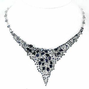 Necklace Blue Sapphire Genuine Gems Solid Sterling Silver Cluster Design 19 Inch