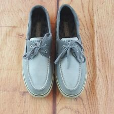 Sperry Top Sider Gray Stone Wash Canvas Boat/Deck Loafer Shoes Women's Size 9.5M