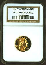 1999 W WASHINGTON $5 Gold proof Coin NGC PF 70 PF70 ULTRA CAMEO