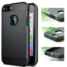 2 in 1 Black Soft Rubber and Grey Hard Plastic Cover Case For Apple iPhone 5 5S