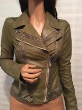 $1350 NTW VERSACE Jeans Olive Green Leather Moto Jacket sz 40/6
