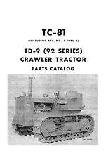Ih International Td 9 92 Series Crawler Tractor Service Parts Manual 1960