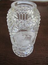 One of a Kind Waterford Etched Trophy  World's Writer Cup EXCELLENT Heavy