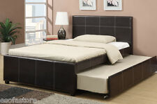 Modern Twin Bed W/ Trundle Espresso Colored Faux Leather Bedframe Furniture