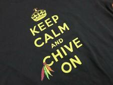 Chive Keep Calm And Chive On Solid Black Short Sleeve T-Shirt Large L