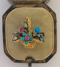 Un único garnettii Turquesa, Rubí y Diamante Anillo Flor Cesta Circa década de 1800