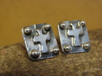 Native American Indian Jewelry Sterling Silver Cross Post Earrings by Ernest Ran