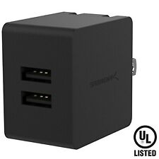 Sabrent Dual USB Wall Charger with Foldable Plug (10.5W 2.1 Amp) Black (AX-SMP2)