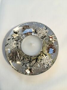 GLASS CANDLE HOLDER WITH FLORAL DESIGN (Mini) White Christmas