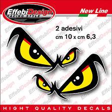 2 Adesivi/Stickers OCCHI NO FEAR Dx Sx, Auto Moto Casco Cross Tuning SBK MOTO GP