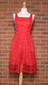 Karen Millen Red Cut Out Back Dress UK 8