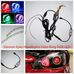 Car SUV Demon Eyes Headlight Halo Ring Bluetooth Wireless Remote Control RGB LED