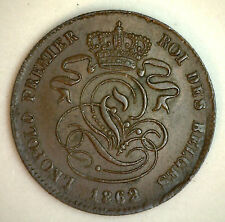 1862 Copper Belgium 2 Centimes Coin Currency XF