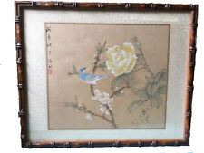 Vintage Chinese Watercolour Painting  On Silk Bird On Flowers Bamboo Frame