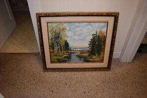 Vintage Framed Original Signed Landscape in Oils on Canvas Board