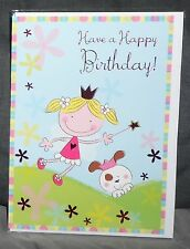 "BN-BIRTHDAY CARD - JUVENILE FEMALE/GIRL - STYLE 20 - ""PUPPY/CROWN/WAND"""
