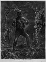 COAL MINER AT WORK PICKAXE CANDLE POWER HEADLAMP 1867 COAL MINING HISTORY