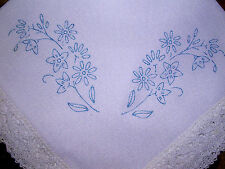 Printed traced to embroider Square table Centre cloth Flowers lace CSOO57