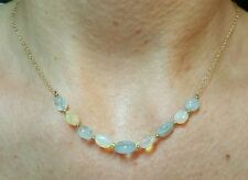 Oval nugget Ethiopian fire opal and Aquamarine solid 14k gold necklace