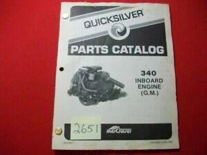1984 MERCRUISER QUICKSILVER PART CATALOG #90-97671 COVERS 340  INBOARD GM ENGINE