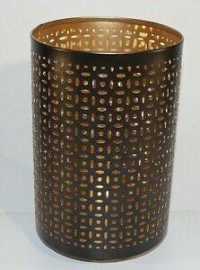 "Lifetime Brands 8"" Black Gold Mesh Luminary Candle Holder 5163953"