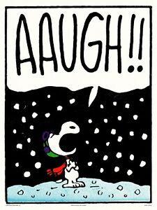 """PEANUTS """"Aaugh"""" Charles Schulz Snoopy Print Poster xx/175 MONDO"""