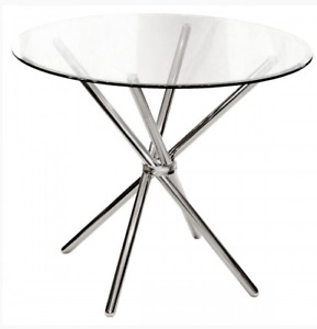 Criss-Cross 90cm Round Clear Glass Dining Table, Chrome Silver 75cm H Febland