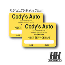 400 Oil Change Service Reminder Static Cling Stickers