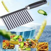 Kitchen Tools Stainless Steel Potato Wavy Chopper Vegetable Fruit Slicer I9D0