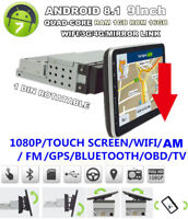 "9"" 1 DIN Autoradio 1+16GB MP5 Player Bluetooth GPS Navigation 1080P Touchscreen"