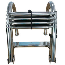 New 4 Steps Stainless Folding Rear Entry Pontoon Boat Ladder Wide Ladder