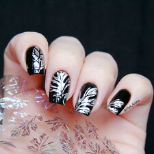 Holographic Feather Leaves Pattern Nail Art Manicure Foils Decals Stickers