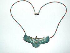 Collier style Navajo Zuni fetish aigle perles turquoise et corail UNIQUE