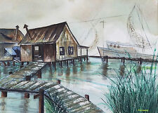 """Suzanne Obrand, Holocaust Survivor, Watercolor Painting """"Fisherman's Wharf"""""""