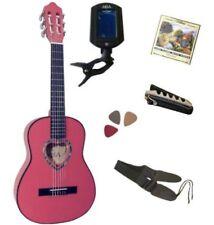 Pack Guitare Classique 1/4 Rose 5 Accessoires Pour Enfant Rosace En Cœur