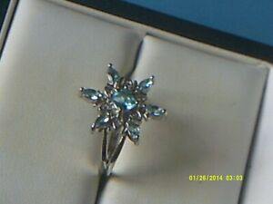 STERLING SILVER SNOWFLAKE AQUAMARINE AND CUBIC ZIRCONIA RING,UK SIZE 'N'
