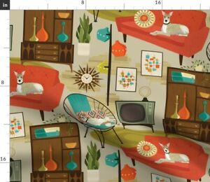 Room 1960S Retro Vintage Century Dogs Mid Whippet Spoonflower Fabric by the Yard